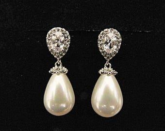 Wedding earrings pearl drop bridal vintage style Art Deco 1920/30s style pearl crystal drop wedding bridal earrings silver wedding jewelry