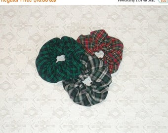 Celebrate8K Preppy Navy Hunter Red Tartan Plaid Scrunchie Set of 3