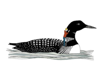 Loon with whispering woman print