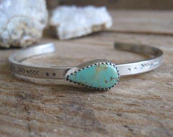 Silver Turquoise Cuff, Stamped Silver Bracelet, Turquoise Bracelet, Sterling Silver Bracelet, Stone Cuff, Boho Jewelry