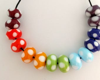 Handmade rainbow lampwork spacer beads