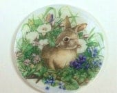 Mother of Pearl Button-Bunny in the Flowers