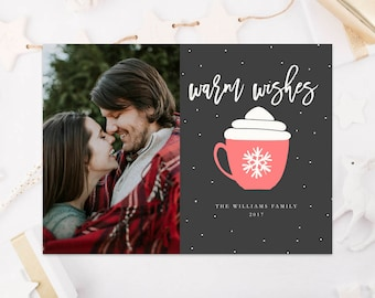 Warm Wishes Christmas Template Christmas Card Template Digital Card Photo Card Photoshop Template PSD Photography Template Instant Download
