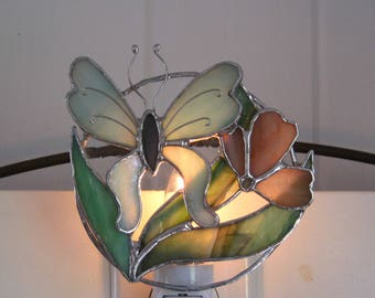 Misty Morning Stained Glass Butterfly Night Light Turquoise and Peach Night Light Glass Nightlight Floral Night Light Girl's Night Light