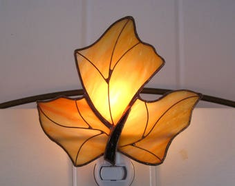 Maple Leaf Stained Glass Night Light no. 2 Maple Leaf Lamp Glass Night Light Glass Nightlight  Stained Glass Light Stained Glass Fall Leaf