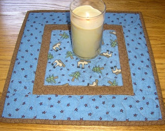 Quilted Table Runner / Primitve Moose and Pines Topper, 15 x 15 inches