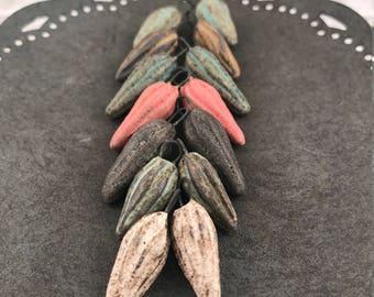 Handmade Ceramic Beads - Stoneware Beads - Rustic - Boho - Seed Pod Beads - Earring Supplies - Craft Supplies