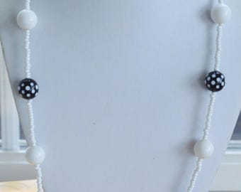 "On sale Pretty Vintage Black, White Polka Dot Beaded Necklace, 28"", Summer Jewelry, Glass, Plastic (AL14)"