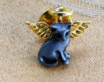 ON SALE Adorable Vintage Pewter-tone Cat Angel Tac Pin, Gold tone (W3)