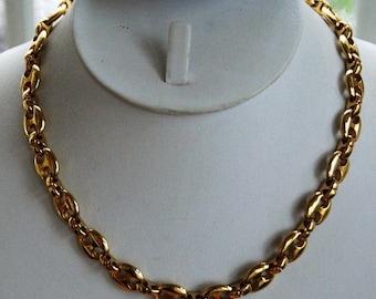 "ON SALE Heavy 10mm  Gold tone Chain Link Necklace, Vintage, 17"" (AL1)"