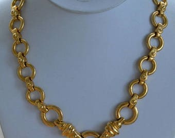 "ON SALE PAOLO Gucci Chain LInk Gold tone Necklace, 19"", Vintage (Tb6)"