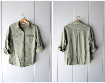 Sage Green Linen & Rayon Button Up Shirt 90s Long Sleeve Button Down Slouchy Preppy Grunge Top Basic Minimal Safari Shirt Womens Large XL
