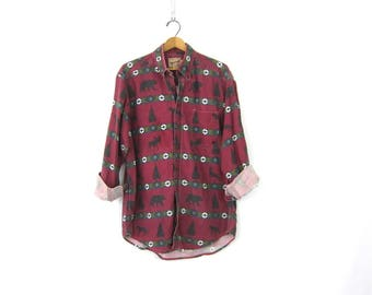 Red Rugged Camping Shirt Moose Bear Tribal Print Shirt Vintage Cotton Boyfriend Oxford DES Button Down tomboy Camp shirt Size Large