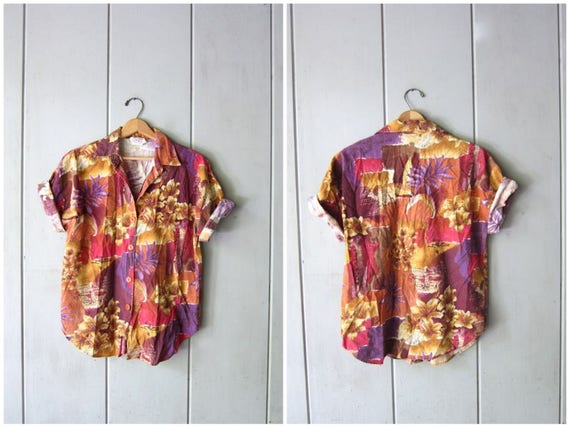 Vintage 80s Tropical Print Shirt Button Up Safari Jungle TShirt Short Sleeve Tee 1980s Resort Wear Shirt Womens Medium Large