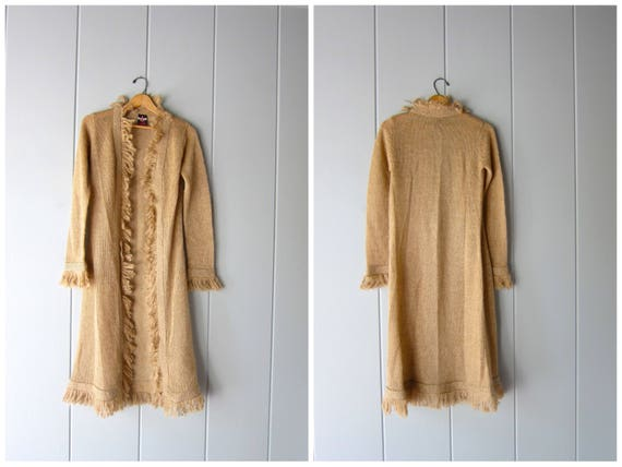 Vintage 90s Mohair Wool Blend Sweater Fringe Minimal Thin Knit Beige Sweater Long Cardigan Sweater Cocoon Sweater Duster Womens Small Medium