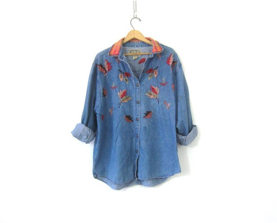 90s Embroidered Jean Shirt Oversized Button Up Denim Slouchy Hipster Pocket Top Preppy Felted Leaf Leaves Casual oxford Shirt Womens size 2X