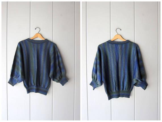 80s Batwing Sweater Blue Green Thin Knit Sweater Top Soft Minimal Knit Slouchy Blouse Dolman Sleeve Crop Retro Pullover Womens Medium Large