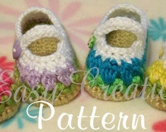 CROCHET PATTERN Baby Mary Jane Shoes booties tulip flowers girl girls babies  0 to 9 mo skill level intermediate