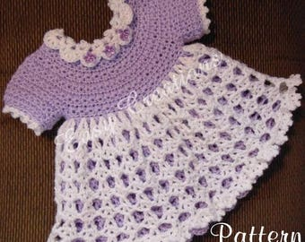 PDF CROCHET PATTERN, Star Stitch Baby Dress, 0 to 6 months, baby girl dress, lacy, shell stitch skirt, double layer