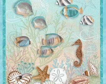 "24"" Fabric Panel - Studio E Seaside Dreams Nautical Seashell Fish Wallhanging"