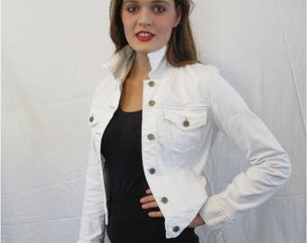 White Vintage Denim Jacket form BASIA DESIGNS Private Collection