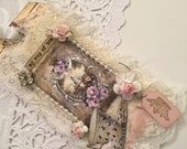 RESERVED French Crown Gift Tag, Handmade Gift Tag, Shabby Tag, Paris Gift Tag,  Lace Gift  Ta