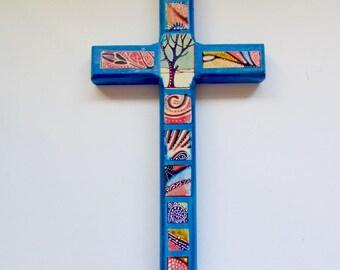 Decorative Wood Cross,Boho wood cross, Decorative wall art, Decorative wall cross