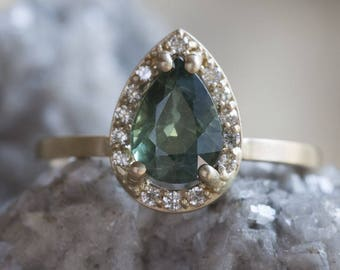 Natural Green Sapphire Ring with Pavé Diamond Halo