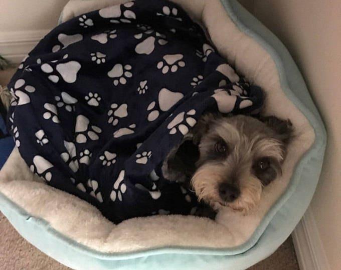 Personalized Paw Print Blanket, Navy Paw Print Dog Blanket,  Paw Print Puppy Blanket, Personalized Dog Blanket