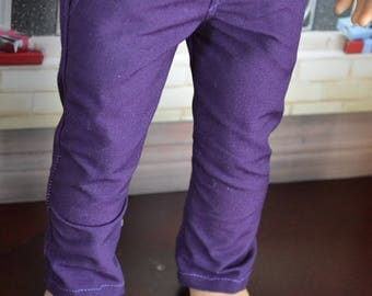 18 inch Doll Clothes - Purple Chinos - Trouser Pants - for BOY or GIRL - fit American Girl