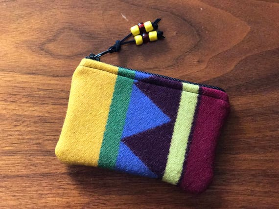 Wool Coin Purse / Phone Cord / Gift Card Holder / Zippered Pouch Serape Geometric