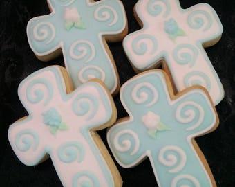 Cross Cookie Favors - First Communion Cookie Favors - Baptismal Cookie Favors - 1 dozen
