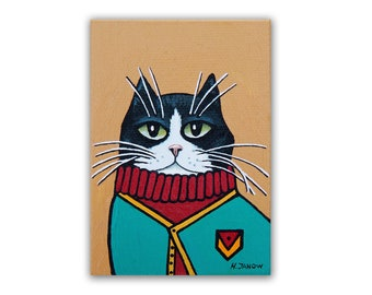 Tuxedo Cat ACEO Original Painting on Canvas, Cat in a Sweater Whimsical Pet Portrait
