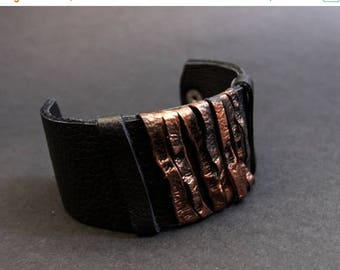 40% OFF SALE Elegant wide leather bracelet in copper color Cuff Wristband Jewelry