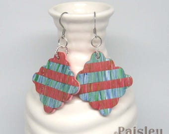 Fat Quarters Patchwork dangle earrings, pink and blue polymer clay on steel ear wires