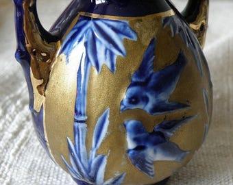 christmasinjuly BIRDS Handled Cobalt and Gold Vase, Austria