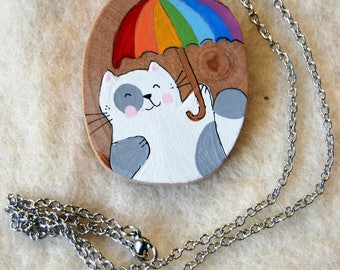 wooden cat charm necklace and Rainbow umbrella