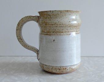 wheel thrown pottery mug, stoneware mug, coffee tea cup, natural organic dish, handmade, extra large coffee mug, terra cotta, one of a kind