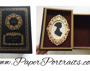 Emma by Jane Austen, OOAK Vintage Book Box with Real Hand Cut Silhouette