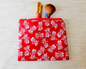 Pineapple Zipper Pouch, Fabric Pouch, Make Up Bag, Pouch, Cosmetic Bag, Toiletry Bag, Zipper Case, Pineapple Pouch, Red Pouch