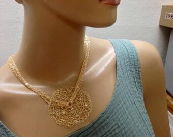 Crochet gold necklace Swarovski ab rainbow crystals magestic necklace multichain gold necklace