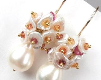 SALE Sapphire Pearl Earrings Gold Vermeil Multicolor Gemstone Red Orange Yellow Wedding Earrings September Birthstone