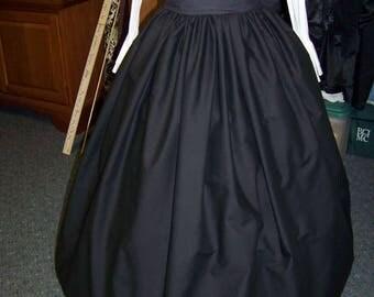 Civil War, Dickens costume Long Drawstring SKIRTone size fit all black solid cotton skirt Handmade