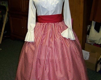 Civil War Child or Ladies Camp Dress,costume drawstring SKIRT one size fit all Red and white checked Taffeta, Black Sash or Red Sash