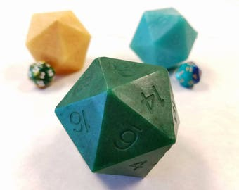 Green D20 Die Soap with Moving Die Inside | Ocean Rain Scented D20 soap | Tabletop Gaming Soap | Dungeons and Dragons Soap | MtG D&D