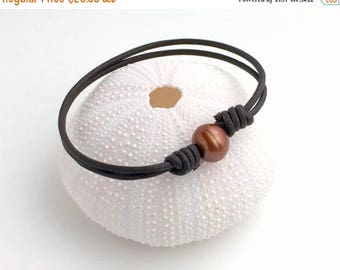 Brown Leather Anklet / Bracelet. Adjustable. Brown Freshwater Pearl and Dark Brown Leather
