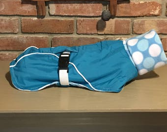 """FREE US SHIPPING Aqua Ripstop Fleece lined Dog Coat. (#00049) Size 15"""" back.  Fits Italian Greyhound, Chinese Crested, Min Pin"""