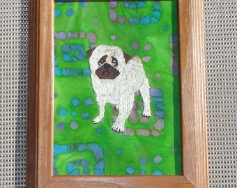 Pug Dog Portrait, Hand Embroidered, Framed