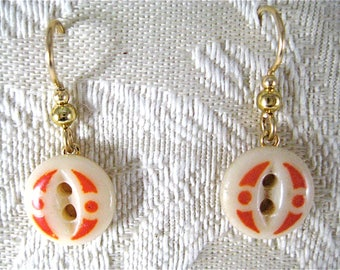 1920s CHINA STENCIL BUTTON with Orange Design Earring