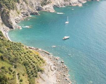Italy Photography, Summer dip in Cinque Terre, Italy, beach photography, Italian home decor, blue umbrellas, summer in italy